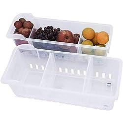 Bacs de Rangement Frigo (2Pack) - Congélateur Bacs Conteneurs Empilables (40cmx12cmx12cm) - Réfrigérateur Boîte Ranger Légumes Fruits Lait Fromages Bouteille de Vin, d'Eau et Soda, Transparentes