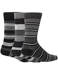 Herren Freizeit Strümpfe / Socken, gestreift, 3er Pack, 6 verschiedene Designs (EUR 39-45) (pink/violett/blau)