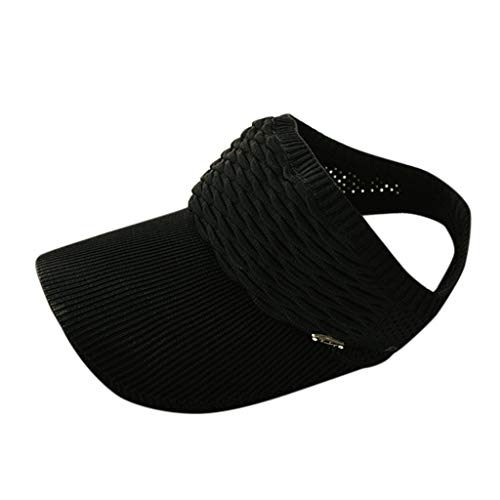 CANDLLY Hut Damen, Kopfbedeckung Zubehör Kopfschmuck Unisex Outdoor Sport Sonnenhut einfarbig Mesh atmungsaktiv plus Kappe stricken Adjustable Cap Sunscreen Sun Solide Mesh Hat(Schwarz,One Size