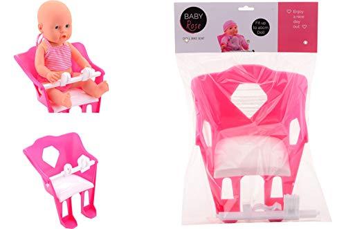 JohnToy 27614 Baby Rose Puppe Fahrradsitz, Mehrfarbig