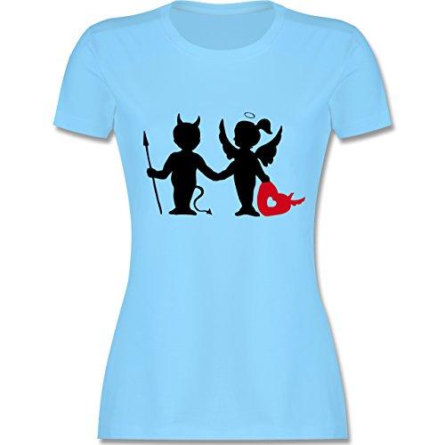 Symbole - Teufel und Elfe mit Herz - tailliertes Premium T-Shirt mit Rundhalsausschnitt für Damen Hellblau