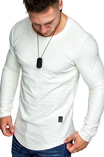 Amaci&Sons Oversize Vintage Herren Pullover Hoodie Sweatshirt Crew-Neck 6065 Weiß M