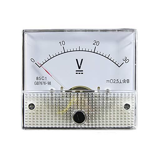 Robluee Voltmetro analogico 85C1 DC in plastica, Pannello 5 V 10 V 15 V 20 V 30 V 50 V 75 V 100 V 150 V 200 V 250 V 300 V 450 V 500 V Calibro Meccanico 64 x 56 mm