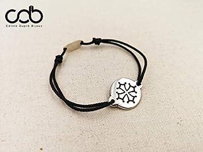 """Bracelet réglable cordon tressé""""Croix Occitane"""" ø18mm finition argent 925"""