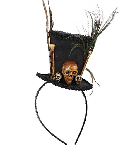 einer Zylinder mit Knochen Schädel und Federn Halloween/Horror *NEU bei Pibivibi© (Voodoo-hexe Kostüm)