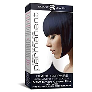 Smart Beauty Sapphire Blue Black Permanent Hair Dye, Professional Salon Quality Hair Colour contains Smart Plex nourishing conditioning Serum which protects and strengthens hair during hair colouring