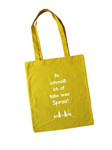 Jutebeutel bedruckt mit Berliner Spruch - inne spree - / Stoffbeutel / Jute Beutel / Einkaufsbeutel Baumwolle mit Sprüchen von SPREE Klamotte Berlin - Statement Sprüche Tasche - schwarz gelb