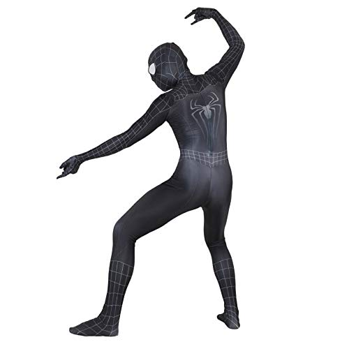 piderman Cosplay Kostüm Erwachsene Elastische Body Halloween Maskerade Thema Party Movie Party Requisiten (Farbe : SCHWARZ, größe : L) ()