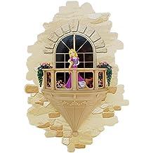 3DlightFX Disney Rapunzel Prinzessin 3D Wandlampe mit Wandaufkleber | Nachtlicht mit Automatische Abschaltung | Batteriebetrieben Kinder Lampe