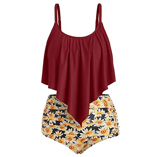 Aiserkly Damen Bikini Set Vintage Bademode Ruffles Strap Badeanzug -