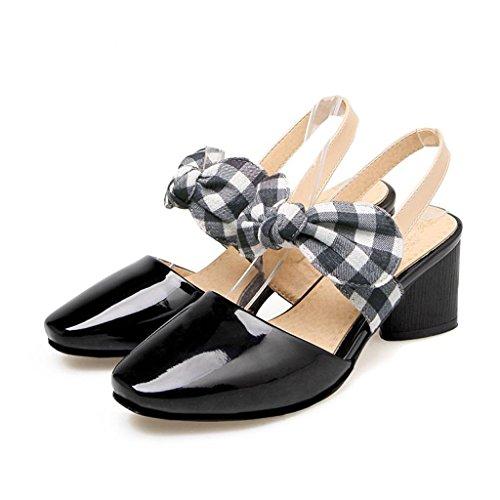 W&LM Baotou tacco grosso Sandali Fashion Donna Vento dell'Accademia Aiuto basso Tacco medio Scarpe Black
