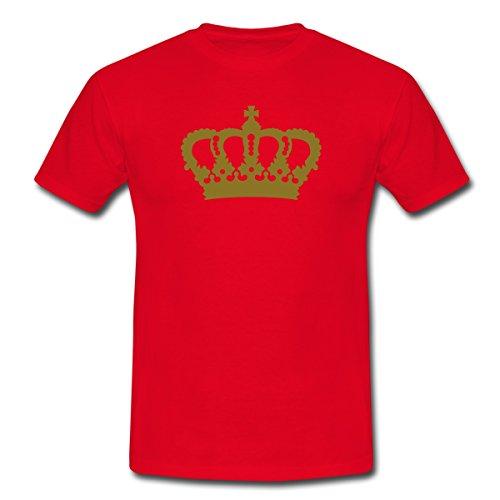 Krone König Königin Prinz Prinzessin Royal Kopfschmuck Kreuz Männer T-Shirt von Spreadshirt®, XXL, Rot (Kronen Für Könige Und Königinnen)