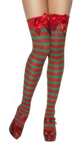 Ladies Red White Green Striped Christmas Sexy Miss Mrs Santa Elf ...