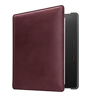 CASEBOT Genuine Leather Case for All-New Kindle Oasis (10th Gen, 2019 Release & 9th Gen, 2017 Release) - Slim Fit Cover with SF Coated Non Slip Matte Finish Back Case with Auto Wake/Sleep, Burgundy