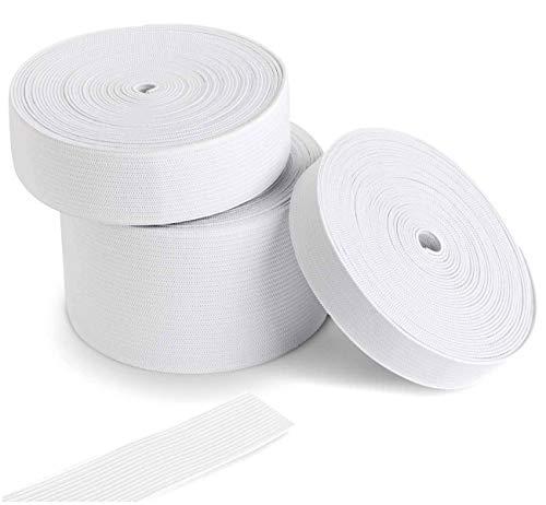 Gummiband Weiß 5 mm, 7 mm, 12 mm Breit zum Nähen, Wäschegummi Gummizug Gummilitze Elastisches Elastic Band Nähzubehör Gesamtlänge von 13 m