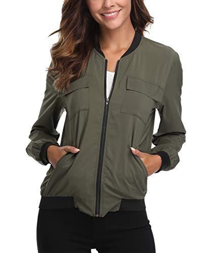 Womens Sommer leichte Lightweight Bomberjacke Lässig Casual Mantel Zip up Lange Ärmel Plain Army Green Moderne Outwear - S