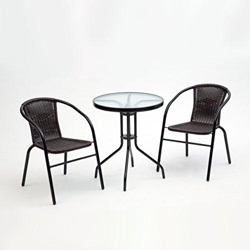 Transcontinental Group GF07375USA Bambi Bistro Gartenmöbel-Set, Braun - Schmiedeeisen Patio-möbel-sets