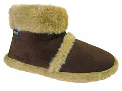 MENS COOLERS SLIPPERS WITH FUR CUFF (Small UK 7-8, Brown)