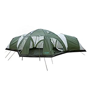peaktop 4000mm waterproof 8 person 3 room berth hiking dome camping tent blue/grey 1 year warranty
