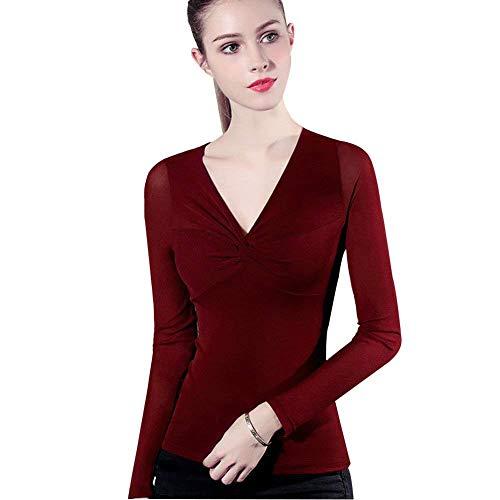 Netto-mädchen T-shirt (Damen Mode Slim Fit Spitzen Langarmshirts Longsleeve Langarm Classic Netto Garn Slim Fit Hemd Shirt Mit V Ausschnitt Kleidung (Color : Rot, Size : 2XL))