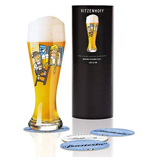 RITZENHOFF Weizen Weizenbierglas von Martina Schlenke, aus Kristallglas, 500 ml, mit fünf Bierdeckeln