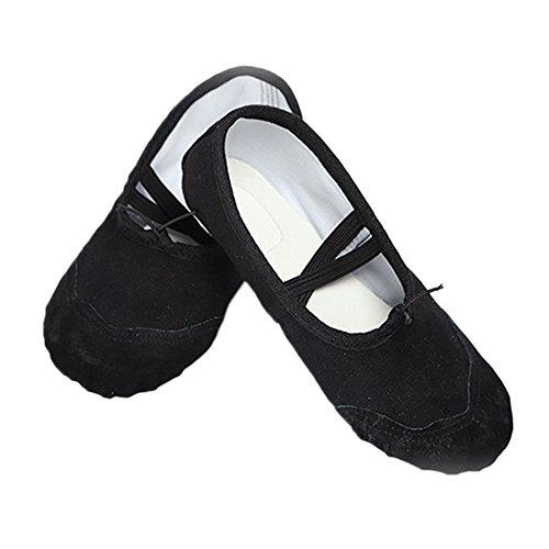 Klassischer Segeltuch-Ballett-Pantoffel-Tanz beschuht Yoga-Schuhe für Frauen-Mädchen-Kind-erwachsene schwarze Größe EU 37 / US 6.5 / UK 4.5