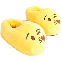 Dragon Flame Cute Cartoon Indoor Zapatillas - Invierno Soft Warm Plush Home Zapatos- Pantuflas Unisex Emoji para Mujeres Adolescentes Adultos Niños y Niñas(Marrón) (Amarillo)