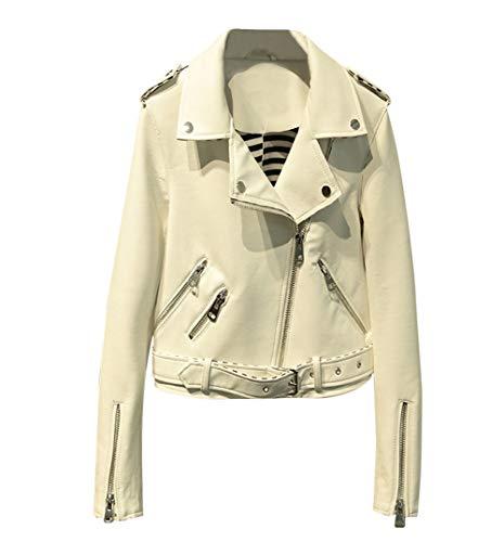 MISSMAO Damen Classics Jacke Elegant Wildleder Suede Kurz Jacket Outwear,Weiß,M