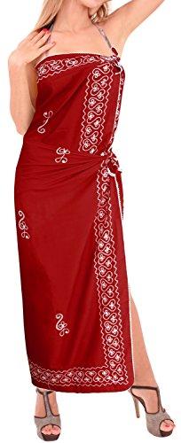 avvolgere costume bikini insabbiamento sarong beachwear rayon donne del progettista ricamato Rosso Affascinante