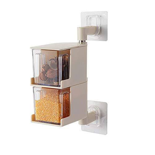 Local Makes A Comeback -Caja de especias de plástico con cuchara - caja de condimento giratoria de pared sin clavos de cocina. 2 capas de beige