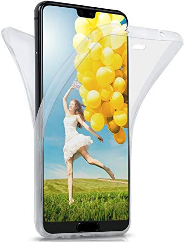 moex® Beidseitige Silikonhülle [Vorder + Rückseite] passend für Huawei P20 Lite | 360 Grad Cover mit Komplett-Schutz - durchsichtig, Transparent