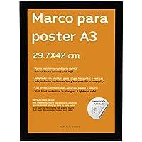 Nacnic Marco Negro tamaño A3 (29.7x42cm). Marco Negro para Fotos, Posters
