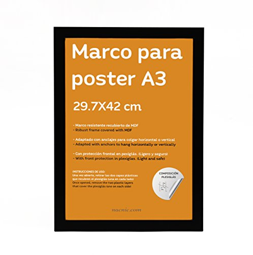 Nacnic Marco Negro tamaño A3 29.7x42cm