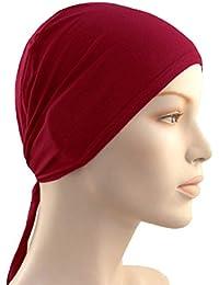 Cwen Collection Hijab TIE BACK BONNET MAROON Women Under Scraf Men Helmet Cap Hat Hair Cover Stole