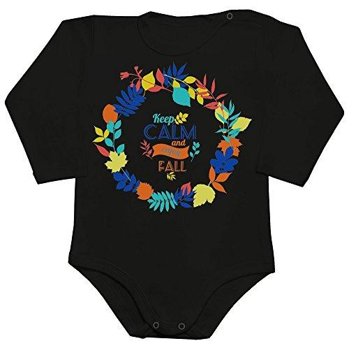 Keep Calm And Enjoy Fall Beautiful Colorful Autumn Leaves Design Baby Romper Long Sleeve Bodysuit Babyspielanzug XX-Large