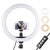 Docooler 12inch Ring Light with Phone Holder Dimmable 3-Color Streaming Light for Vlogging YouTube Video Shooting Make-up, UK Plug