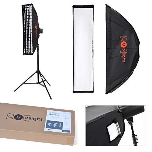 Fotostudio-Stripbox & Wabenraster, Bowens Passform, 22 x 90 cm, Stroboskop-Blitz mit Lichtleiste, Softbox, Diffusor, Silber, Pro Fotografie...