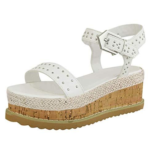 Damen Sandalen Mit Elegantem Sommer Keilabsatz Schuhe Mit Plateau Sexy Knöchelriemen 6 cm High Heels Schuhe Klassische Peep Toe Hausschuhe Für Das Büro (Color : Weiß, Size : 39 EU) -