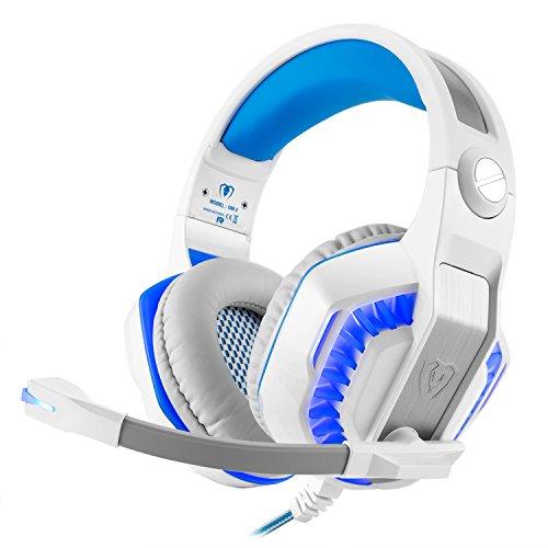 Gaming Headset für PS4 PC, Over-Ear-Kopfhörer GM-2 Noise Cancelling Deep Bass Kopfhörer für Xbox One Laptop iOS Android(weiß Blau)