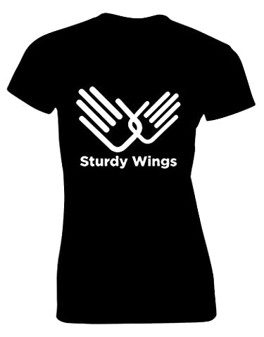'STURDY WINGS' Role Models Inspired Gift For Women & Teenagers Fitted T-Shirts Tops (Black/Medium)