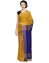 The Weave Traveller Handloom Women's Hand Block Printed Cotton Saree With Attached Blouse