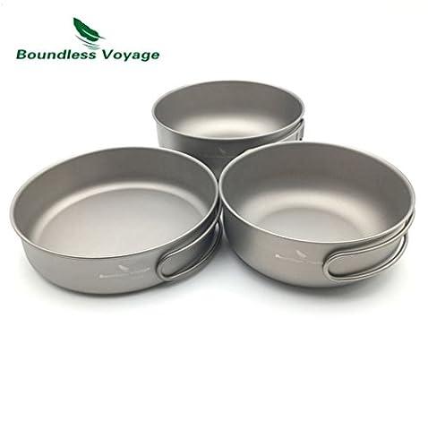 Titanium Pan Bowl Set Outdoor Camping Cookware picnic(500ml+550ml+650ml)