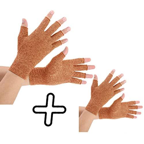 Brace Master Arthritis Handschuhe 2 Paare, Kompression Handschuhe Unterstützung, Gr.-Medium, Braun