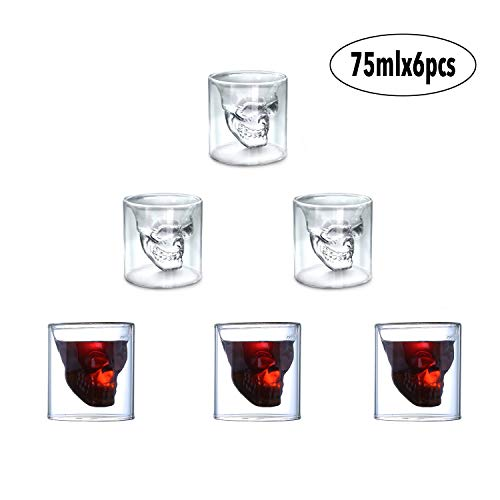 AUVSTAR Totenkopf Schnapsglas, Set von 6(75 ml) Kristall Gläser, Double Layer Transparent Totenkopf Pirat Shotglasses Drink Cocktail Beer Cup,Trinken Ware Becher, dicker Boden Creative Halloween