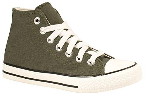 Elara Unisex Kult Sneaker   Bequeme Sportschuhe für Damen und Herren   High top Textil Schuhe 36-47 Dunkelgrün Basic  [B01NBRM11V]