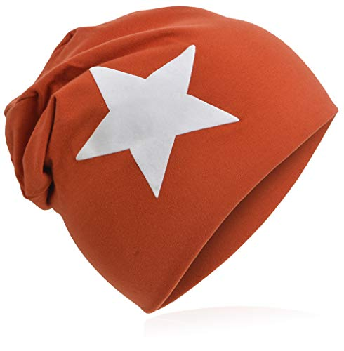 Berretto lungo in jersey, da bambino, unisex, con cotone, motivo con stella grande stella arancione. 43-47cm kopfumfang