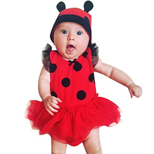 Longra Baby Kleider Neugeborene Mädchen Marienkäfer Cosplay Kostüm Fasching Kleid Kostüme mit Ärmellos Polka Dots Prinzessin Strampler Kleider und Karneval Fasching Partykleid (70CM 6 Monate, rot)