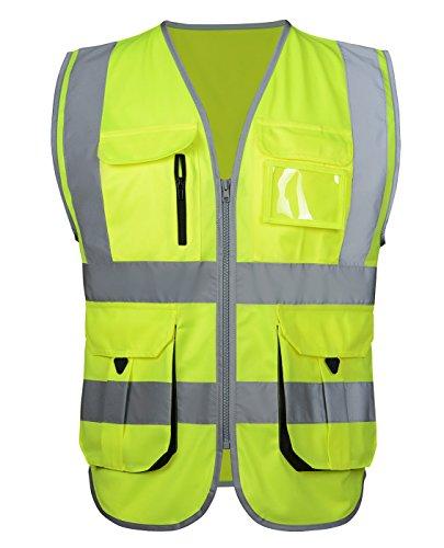 Atmungsaktiv Warnweste Starke Reflektierende Weste Sicherheitsweste mit Taschen - Fluoreszenz Grün Größe M