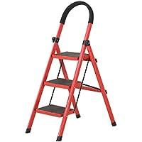 SHLDTZ Escalera Móvil De Tres Pasos Escalera Móvil Escaleras De Engrosamiento Escalera Ascendente Escalera Plegable portátil (Color : Red)