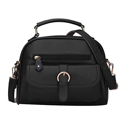 ADEMI Lady Top-Griff Umhängetasche Handtaschen-Schulter-Geldbeutel-Kurier-Beutel Für Frauen Multicolor,Black-OneSize -